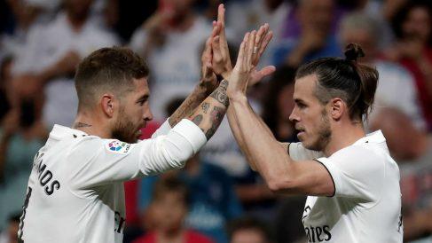 Ramos y Gareth Bale celebran el 2-0 ante el Getafe. (Getty)