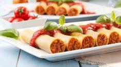 Receta de canelones rellenos de puerros y hortalizas, coloridos y deliciosos