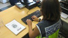 Una agente de Policía investigando desde su ordenador. (EP)