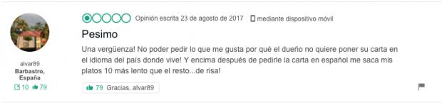"""Fríen a críticas al restaurante de Lérida que ofrece """"guardia civil andaluz a la brasa"""""""