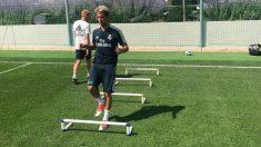 Fabio Coentrao se entrena con el Real Madrid. (@Fabio_Coentrao)