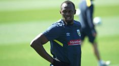 Usain Bolt, durante un entrenamiento con el Central Coast Mariners. (Getty)