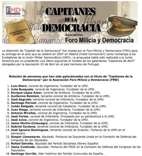 """Premiados con el galardón """"Capitanes de la Democracia""""."""