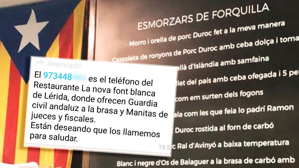 El mensaje que anima a «saludar» a los responsables del restaurante Nova Font Blanca de Balaguer (Lérida).