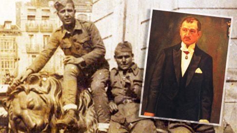 El alcalde republicano de Logroño, Emilio Francés y  miembros de la División Azul del teniente coronel Asparza