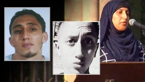 Los terroristas yihadistas Driss y Moussa Oukabir y su hermana Hafida Oukabir.