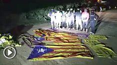 Grupos constitucionalistas retiran hasta 30 kilos de propaganda separatista en la pasada madrugada