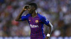 Dembélé celebra su gol al Valladolid. (AFP)
