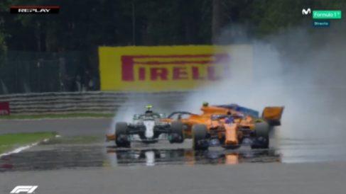 El compañero de Alonso protagonizó el susto de la jornada del sábado. (Movistar+)