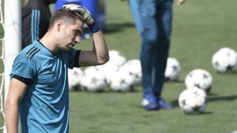 Luca Zidane, en un entrenamiento con el Real Madrid. (AFP)
