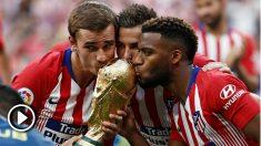 Griezmann, Lucas y Lemar ofrecieron la copa del Mundial al Metropolitano.