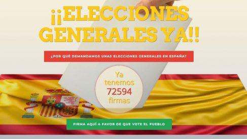 La iniciativa se puede apoyaren la web www.eleccionesya.es.