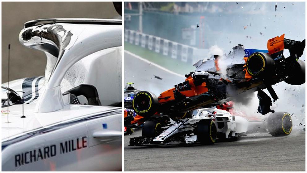 El coche de Leclerc, con la parte del Halo dañada, tras el accidente de Fernando Alonso.