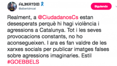 """El portavoz de los Mossos independentistas dice que se trata de una """"agresión imaginaria""""."""