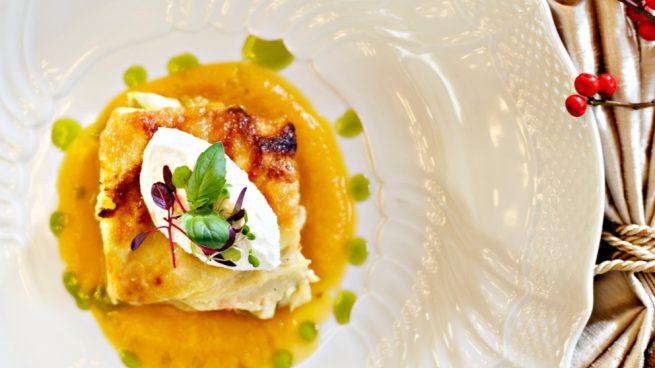 lasaña de mango y brandada de bacalao
