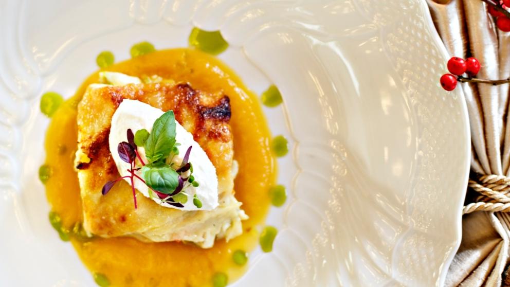 Receta de lasaña de mango y brandada de bacalao