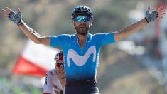 Valverde celebra su victoria en Caminito del Rey.