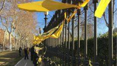 Varias personas retiran lazos amarillos golpistas de las calles de Cataluña. (EP)