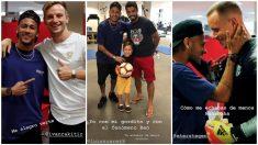 Neymar visita a sus ex compañeros en Barcelona.