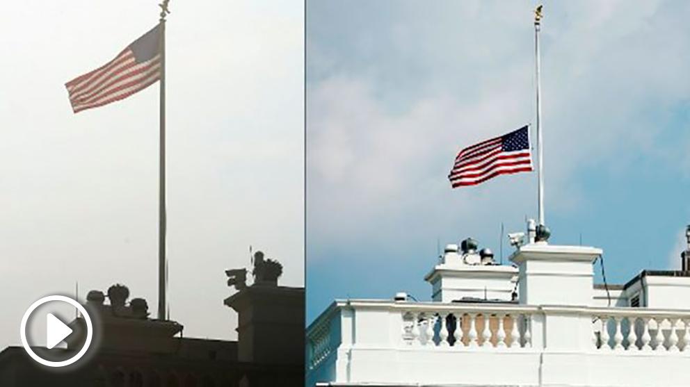 Las dos imágenes han sido tomadas el mismo día, lunes 27 de agosto, y muestra la bandera de la Casa Blanca izada en lo más alto y posteriormente a media asta. Foto: AFP