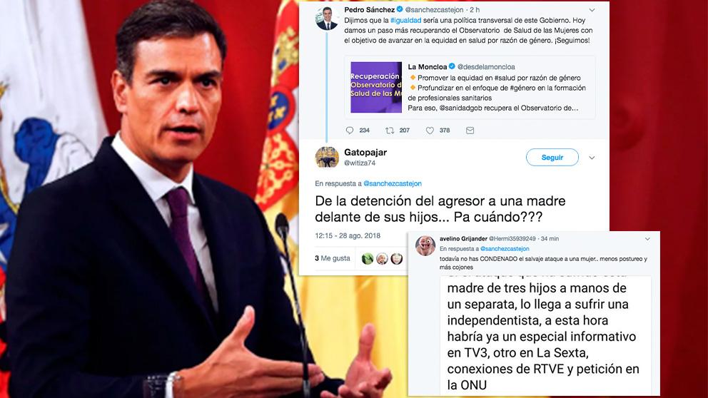 El tuit de Pedro Sánchez y las críticas por su silencio sobre la agresión a la mujer que quitaba lazos golpistas
