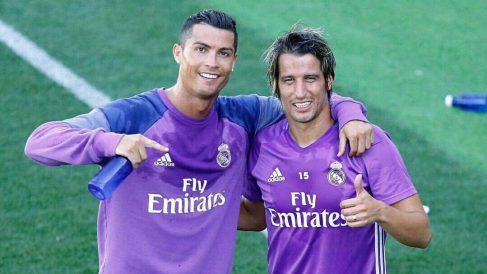 Cristiano y Coentrao, en una foto de archivo entrenando con el Real Madrid.