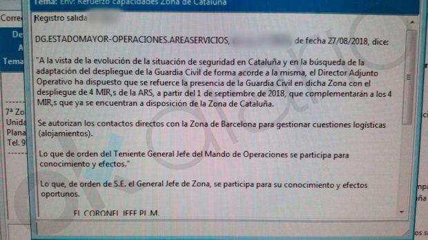 """La Guardia Civil recibe orden de reforzar su presencia en Cataluña ante la """"situación de inseguridad"""""""