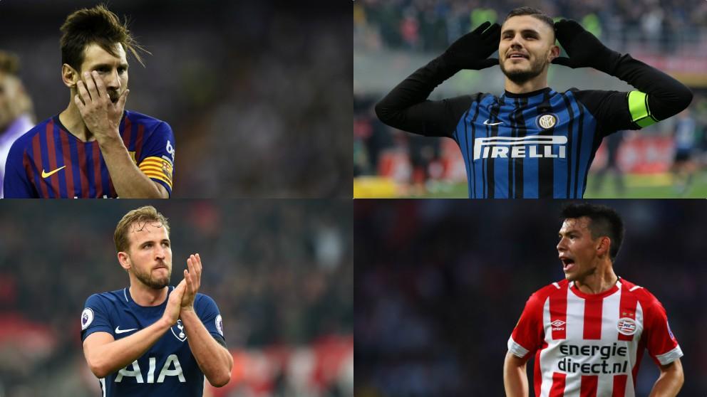 Leo Messi, Mauro Icardi, Harry Kane y Chucky Lozano.