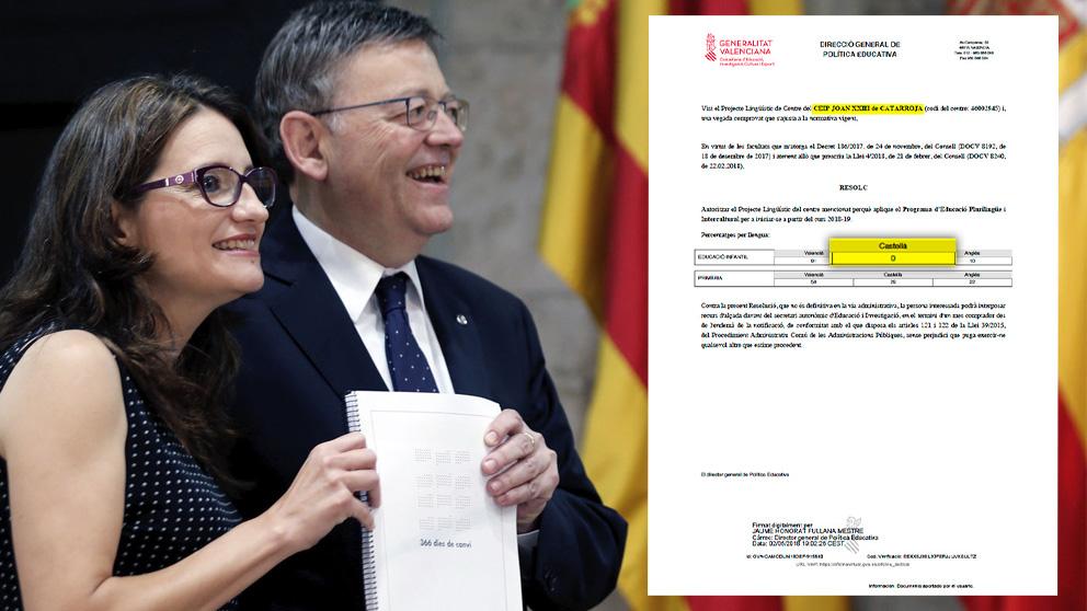 El presidente de la Comunidad Valenciana, Ximo Puig (PSPV-PSOE) y la  vicepresidenta Mónica Oltra (Compromís)