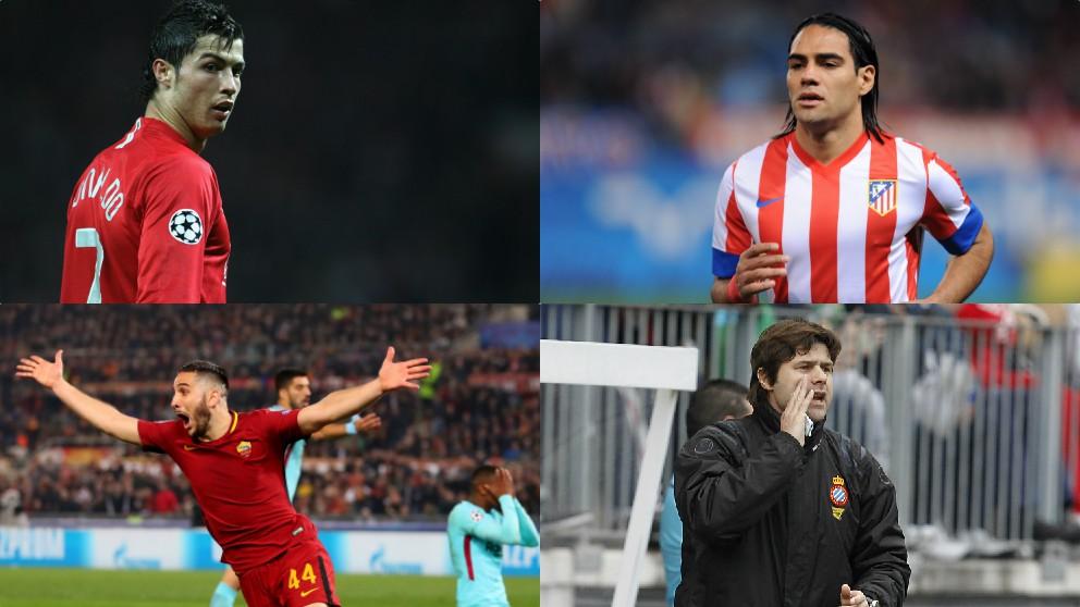 Cristiano Ronaldo, Radamel Falcao, Kostas Manolas y Mauricio Pochettino.