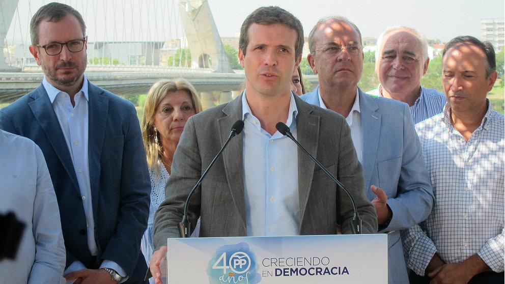 Pablo Casado, presidente del PP, en Mérida. (EP)