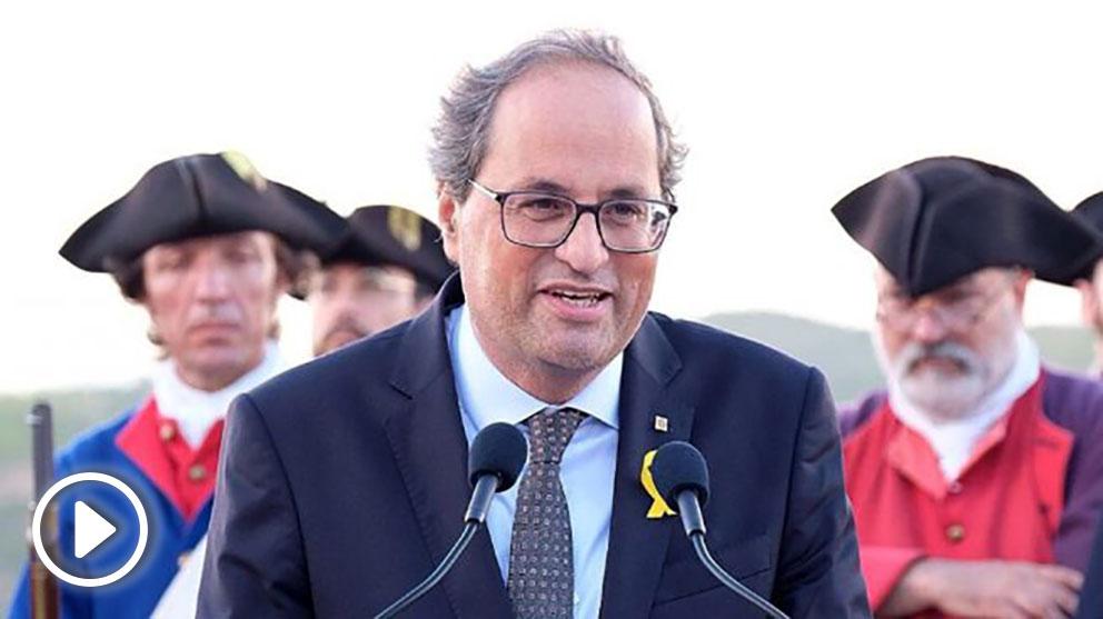 Quim Torra, presidente de la Generalitat, en la conmemoración de la Batalla de Talamanca de la Guerra de Sucesión. (TW)