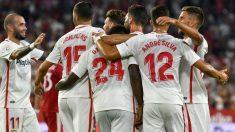 Los jugadores del Sevilla celebran un gol contra el Sigma Olomouc. (EFE)