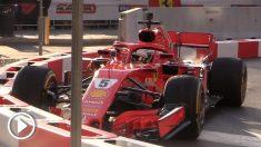 Vettel hizo un destrozo en el alerón delantero de su Ferrari.