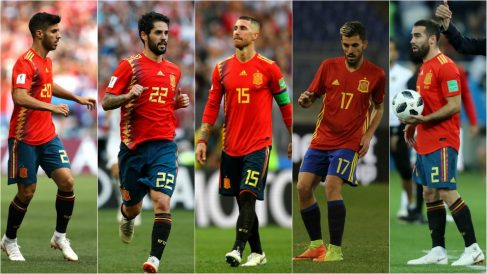 Asensio, Isco, Ramos, Ceballos y Carvajal, junto a Nacho, seleccionados por Luis Enrique. (Getty)