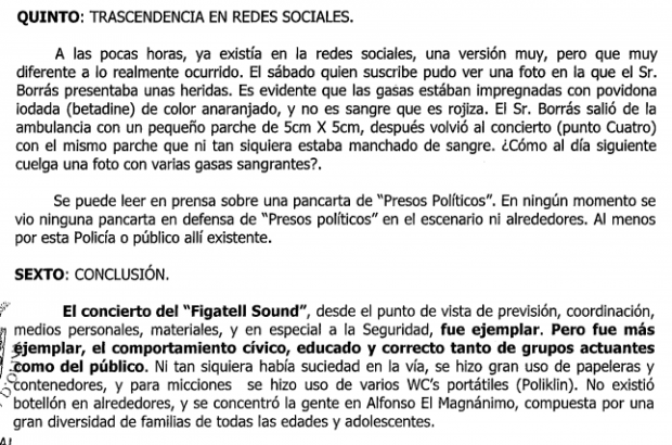 Una 'visita' del alcalde no frena la denuncia del anciano agredido en el concierto separatista de Oliva