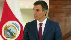 Pedro Sánchez, en rueda de prensa en Costa Rica. (TW)