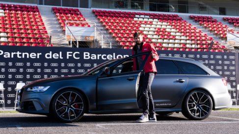 Piqué, en la presentación de los Audi del Barcelona. (Getty)
