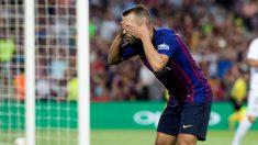 Jordi Alba celebra su gol al Huesca