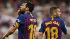 Leo Messi celebra un gol del Barcelona. (AFP)