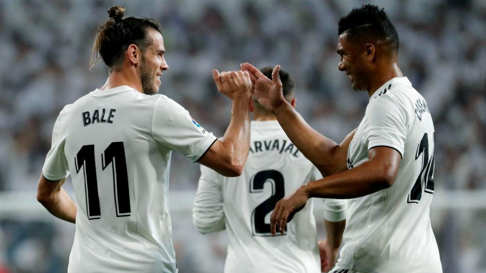Bale y Casemiro celebran un gol del Real Madrid al Leganés (AFP).