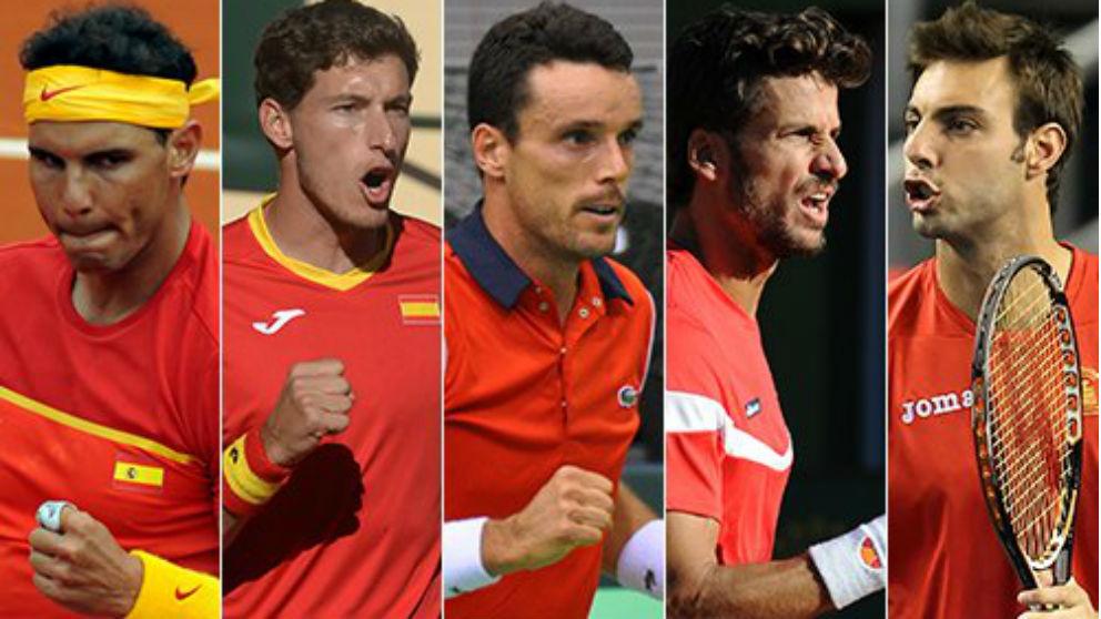 Estos cinco jugadores formarán el equipo español en la semifinales de la Copa Davis ante Francia. (rfet.es)