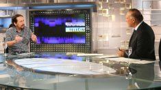 Pablo Iglesias durante la entrevista en Telecinco (RRSS).