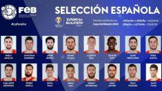 Estos son los 16 convocados por Scariolo para las ventanas FIBA. (feb.es)