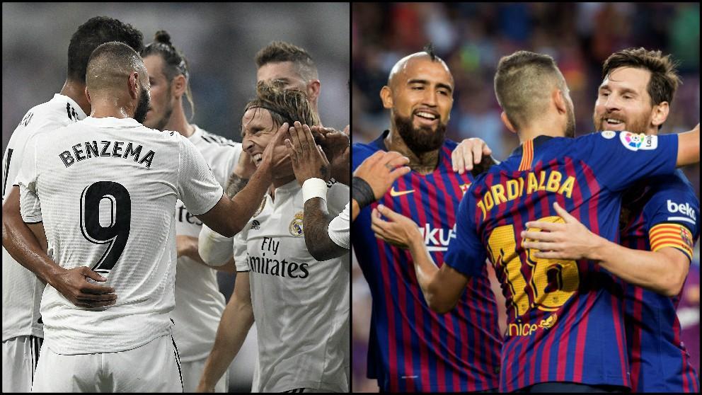 Los jugadores de Real Madrid y Barcelona celebran un gol en Liga.