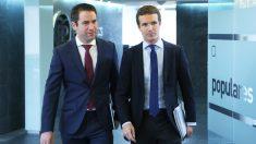 Teodoro García Egea y Pablo Casado, secretario general y presidente del PP, respectivamente. (Foto: PP)