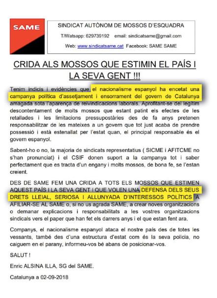 Los mossos independentistas se alían con los CDR para tomar las calles en el aniversario del 1-O