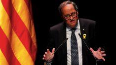 """El presidente de la Generalitat, Quim Torra, tras la conferencia que ha pronunciado con el título Nuestro momento"""". (Foto. EFE)"""