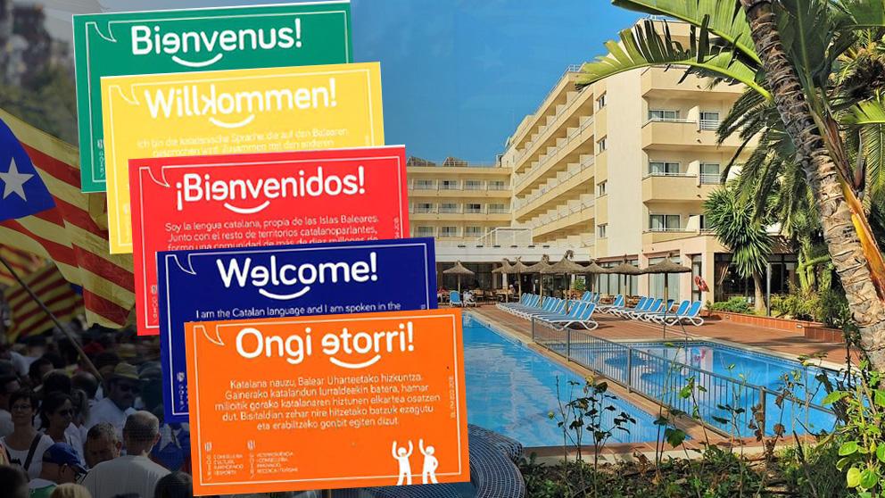 Las tarjetas sobre el catalán que reparte a los turistas el gobierno de Armengol en Baleares