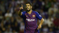 Luis Suárez celebra un tanto el pasado domingo ante el Huesca. (Getty)